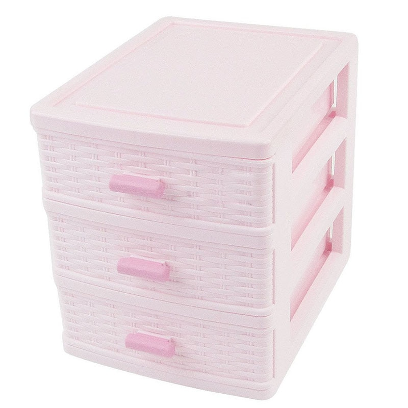 Caixa de armazenamento de jóias de gavetas plásticas, grande lidar com 3 compartimentos, caixa de armazenamento rosa