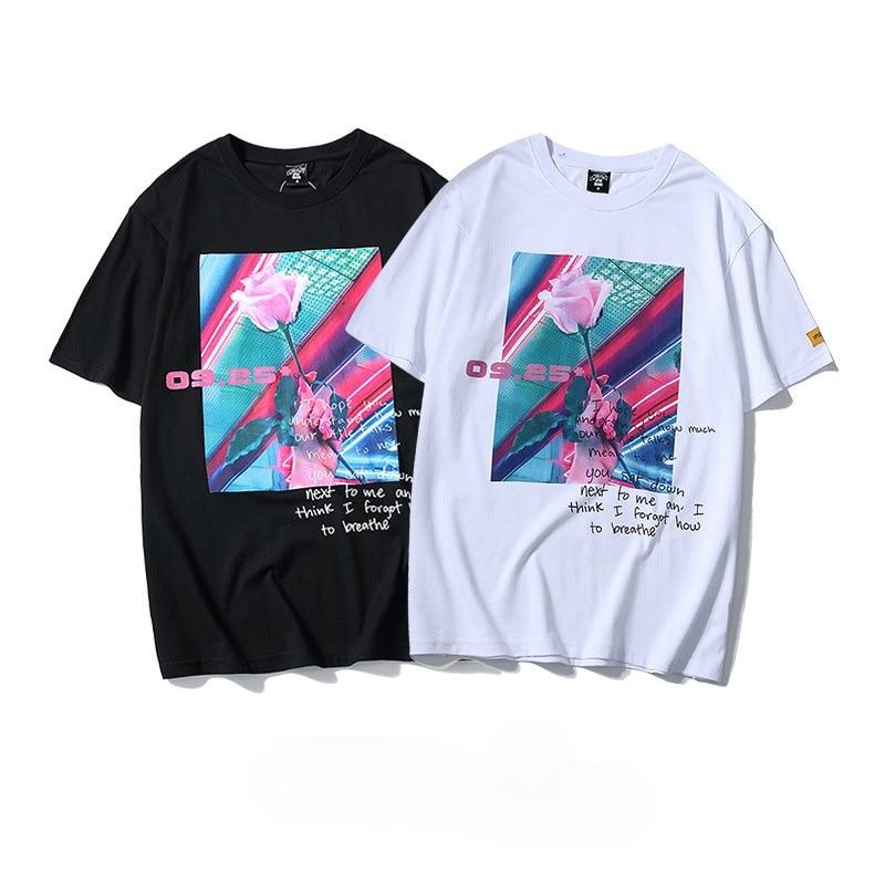 Summer Rose Men Tshirt Rose Print Streetwear Hip Hop Tees Tops Male Retro T-shirts Slim Fit Short Sl