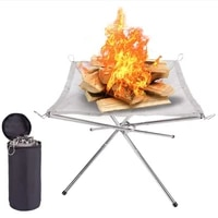 bonfire campfire pit camping wood stove stand frame fire rack stainless steel foldable mesh fire pit outdoor wood heater heating