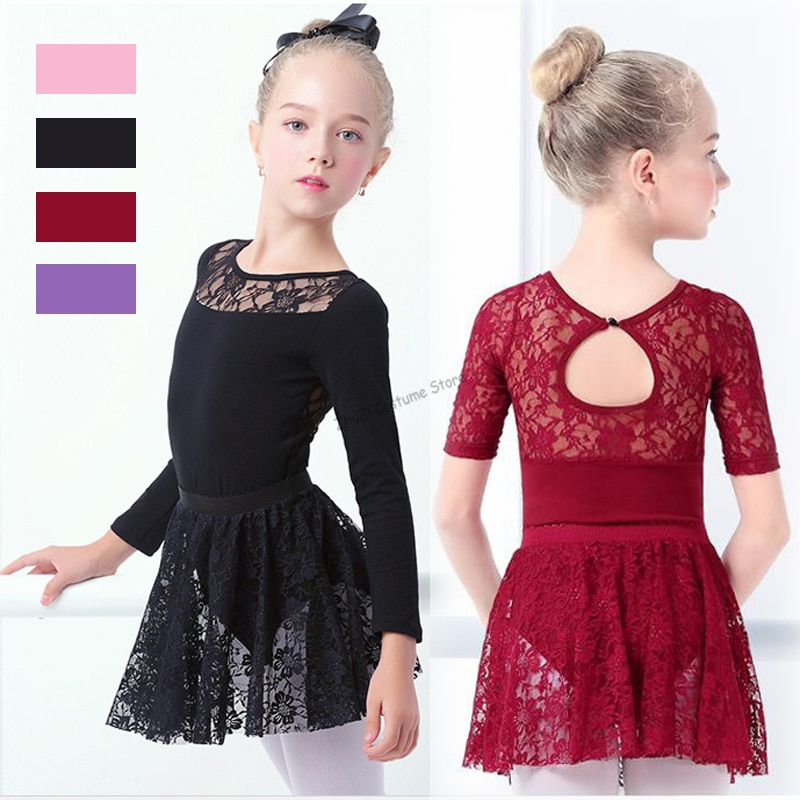 New Girls Ballet Dress Gymnastic Leotards Lace Skirted Leotards Long Sleeve Kids Toddler Gymnastic Swimsuit For Dancing