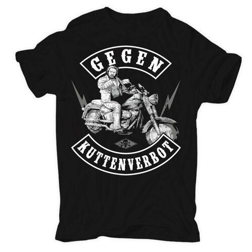 Gegen Kuttenverbot MC Biker Member Prospect Rocker Motorrad T-Shirt Mens Round Neck Fashion Clothing Short Sleeves T Shirt black spell color round neck long sleeves t shirt