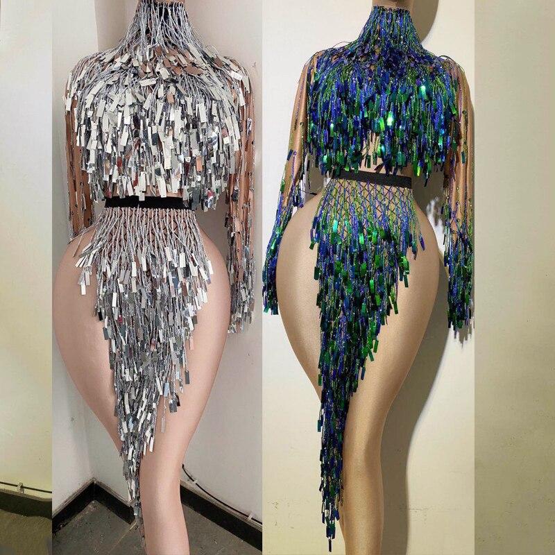 Body brillante con flecos para cantantes femeninas, vestido de Rumba, mono de manga larga, traje de GOGO Dancer DJ, traje Sexy para discoteca