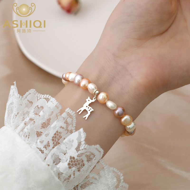ASHIQI Natural Baroque Pearl 925 Sterling Silver Bracelet Retro Elastic Jewelry for Girls gifts 2021 New koraba fine jewelry natural millettia dielsiana bracelet retro couple gifts free shipping