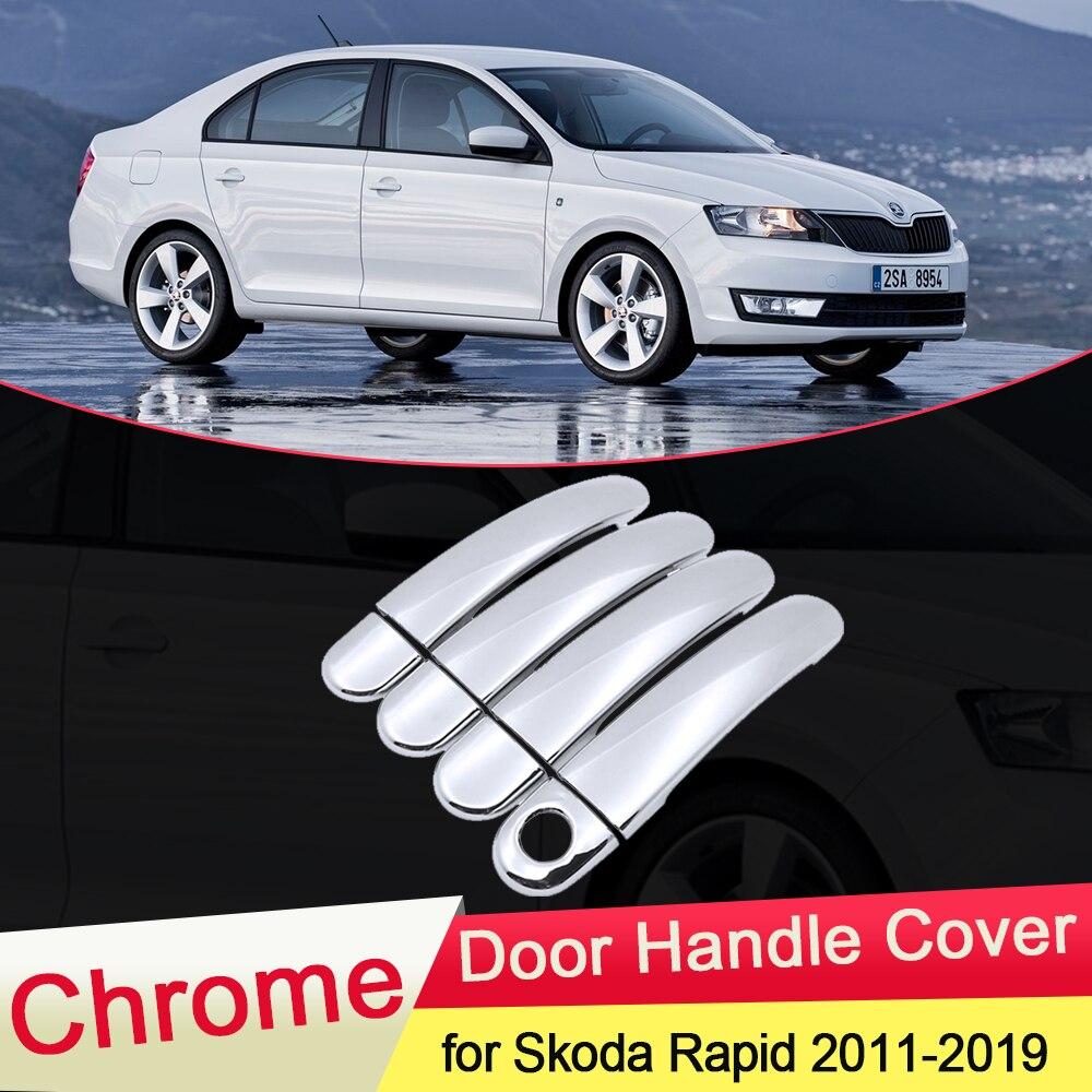 for Skoda Rapid 2011 2012 2013 2014 2015 2016 2017 2018 2019 Chrome Door Handle Cover Exterior Trim Catch Car Cap Accessories