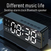alarm clock bluetooth speaker wireless bass subwoofer fm radio surround stereo loudspeaker music box hifi tf mirror speakers