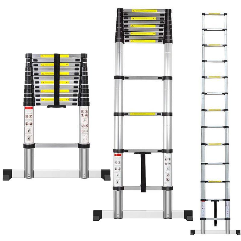 3.8m Retractable Folding Aluminum Herringbone Ladder,Multi-purpose Home/library/engineering Non-slip Ladder Construction Tools