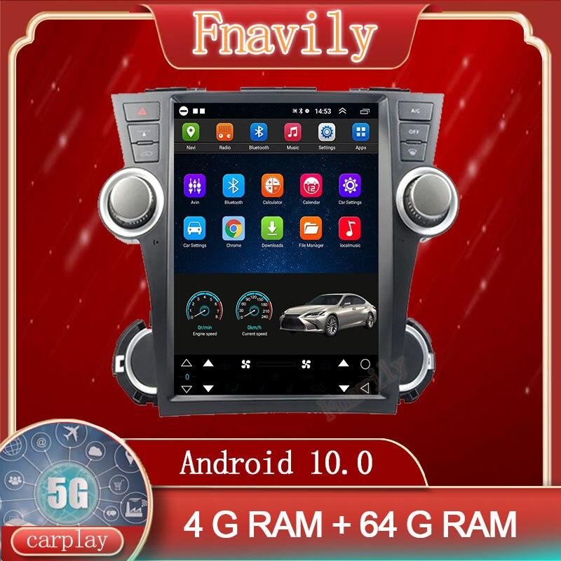 راديو للسيارة Fnavily يعمل بنظام الأندرويد 10 لسيارة تويوتا هايلاندر مشغل متعدد الوسائط مزود بنظام ملاحة جي بي إس شاشة عمودية طراز تسلا 12.1 بوصة