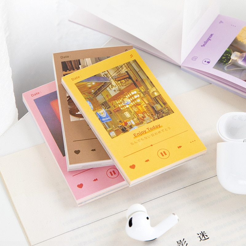 JIANWU 50 Sheets Colorful Life Series Memo Pad Art Landscape Daily Record Note Decoration Material Paper School Office Supplies