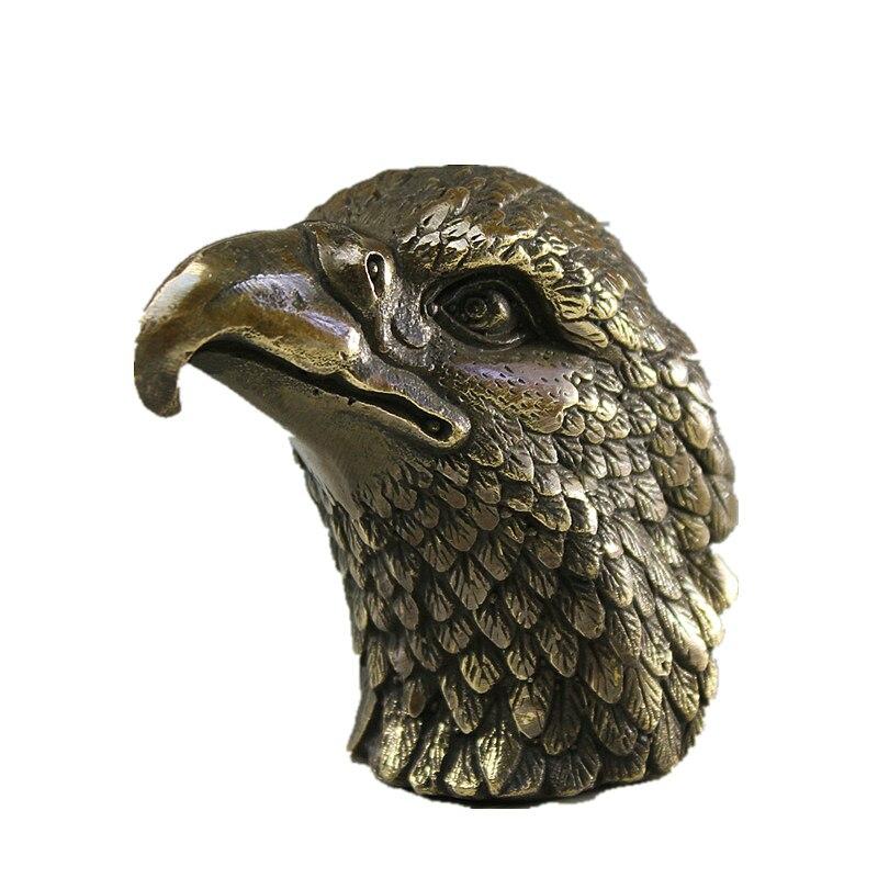Decoración del hogar, estatuas de bronce hechas a mano chinas, esculturas de águila y cabeza de búho