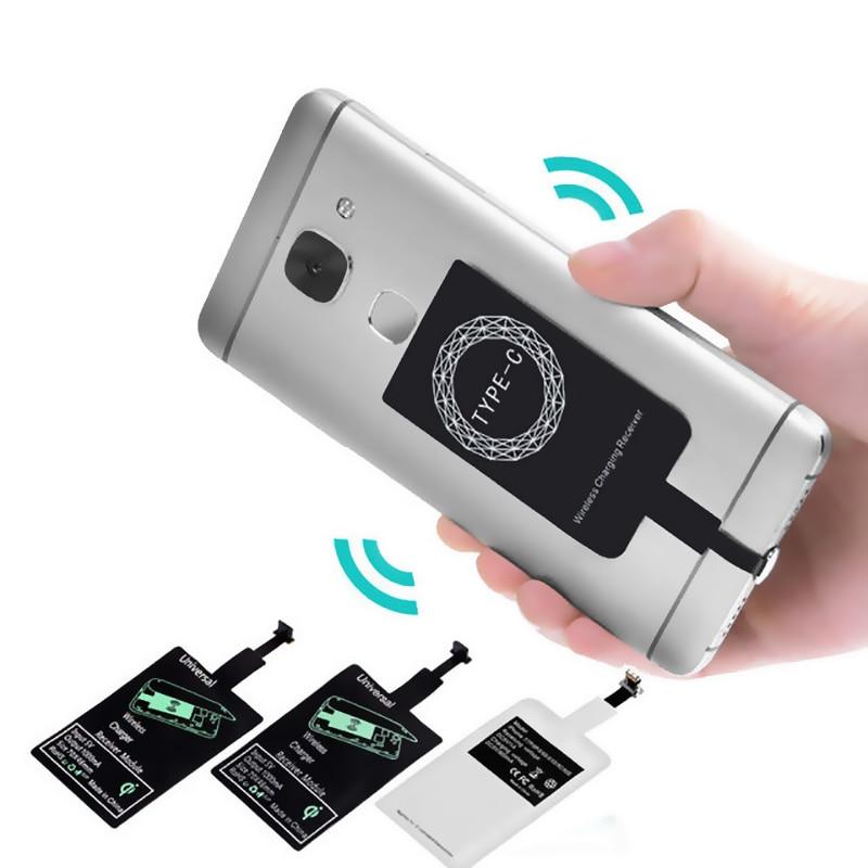 Receptor de carregamento sem fio qi, adaptador de carregamento indutivo para iphone 7,6,5, samsung, huawei tipo-c micro usb qi c conector básico