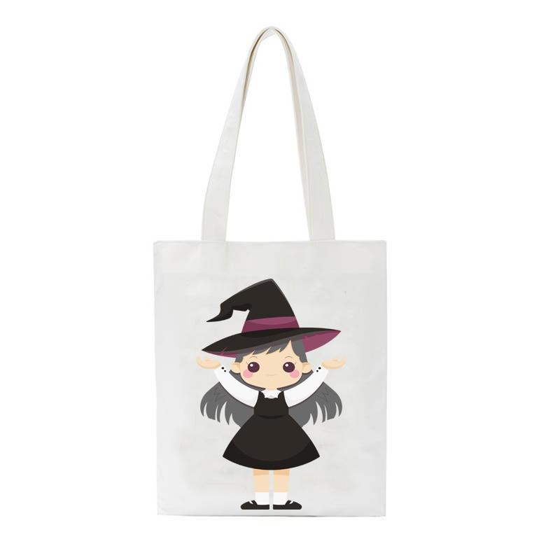 Halloween Witch printing Women shoulder bag Fashion canvas Ladies tote bag Reusable shopping travel book hand bag custom logo