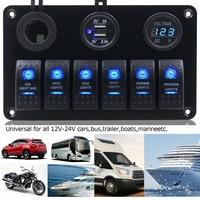Universal 1pc 6 Gang Blue LED Rocker Switch Panel 2USB 5V 2A Socket Voltmeter Power Socket Marine Boat Truck Auto