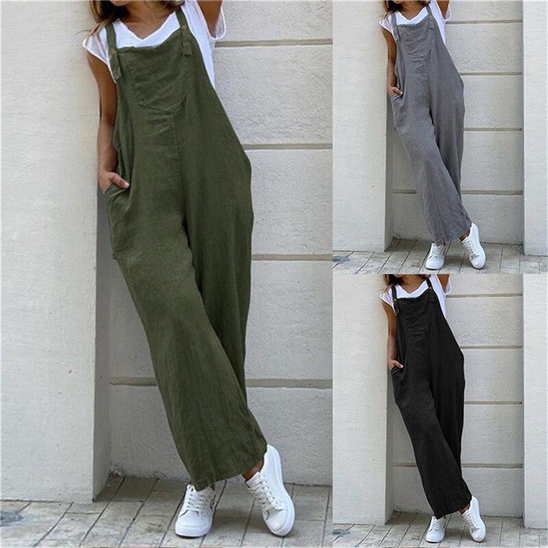 Autumn Vintage Suspender Jumpsuit Plus Size Women Casual Solid Color Pockets Wide Leg Pants Streetwe