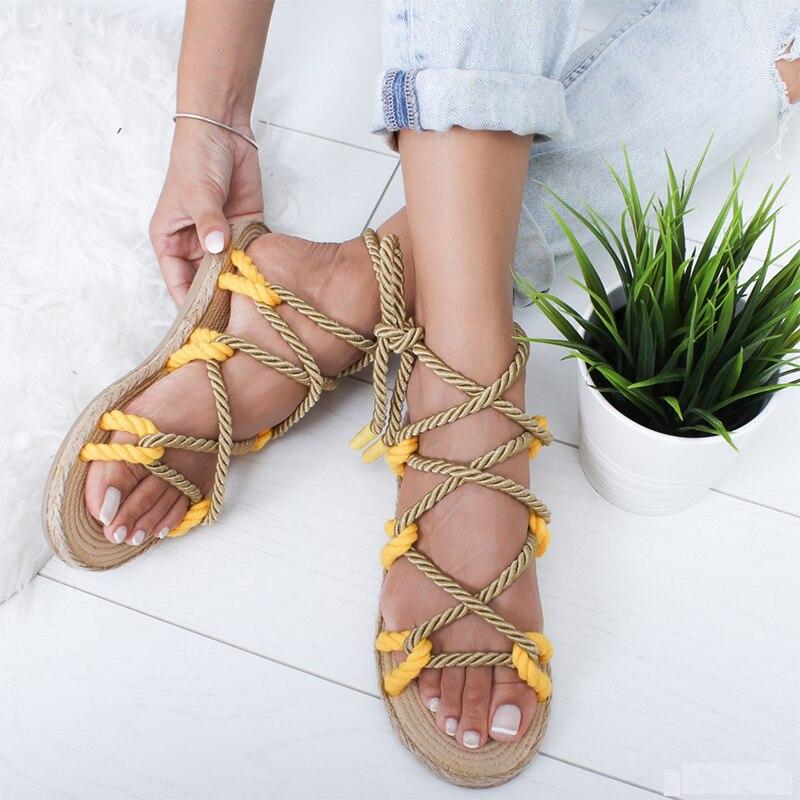 2020 Women Open Toe Slippers Women's Hemp Rope Flat Woman Lace Up  Female Rome Beach Shoes Ladies Sandals Plus Size