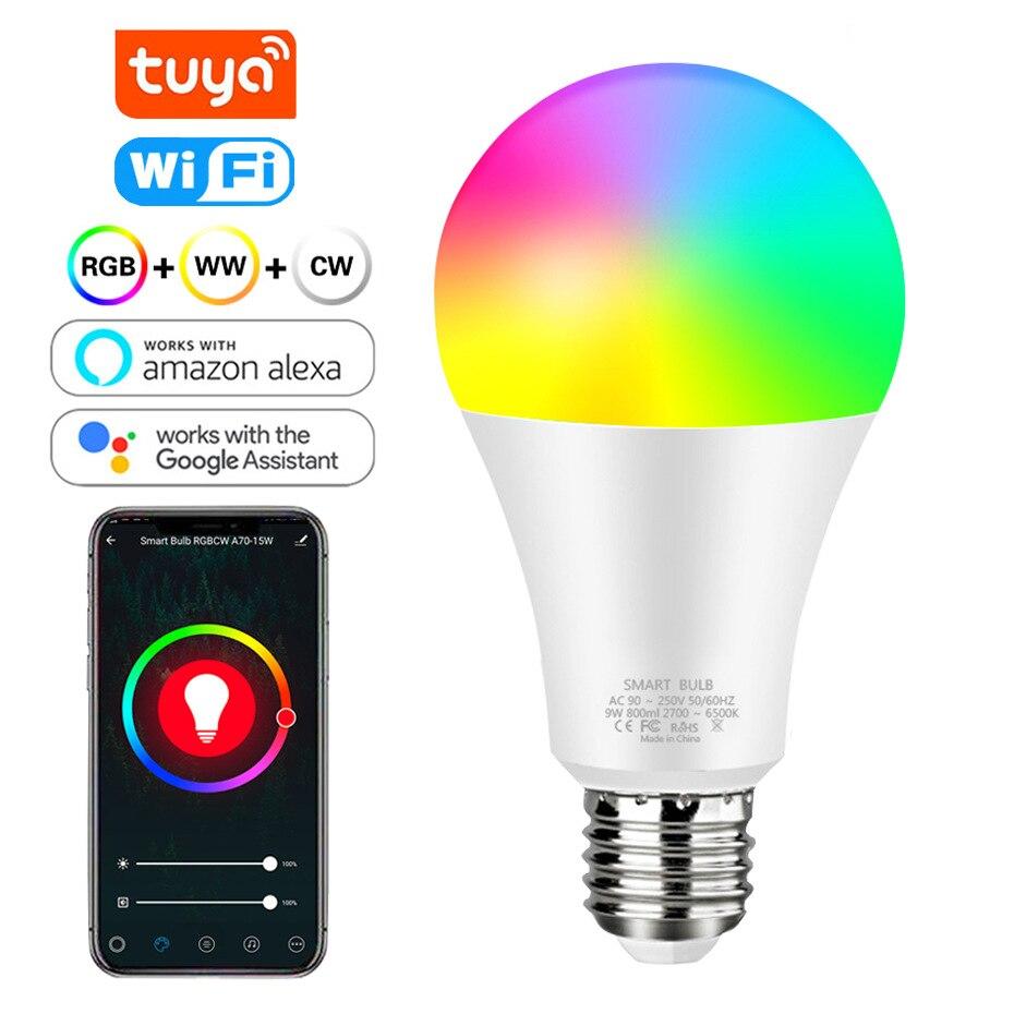 Tuya Smart Light Lamp Wifi Bulb 12W 15W  Color Changing RGB LED Bulb e27 110V 220V APP Remote Compatible  Alexa Google Home