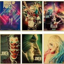 Oiseaux de proie/Harley Quinn/Joker Cool rétro affiche de film Vintage HD imprime maison chambre barre décoration murale affiches Art peinture