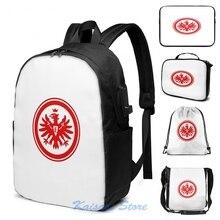 Impressão gráfica engraçada eintracht frankfurt carga usb mochila masculino sacos de escola saco de viagem para computador portátil
