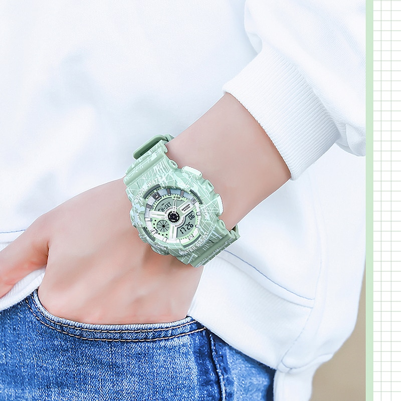 Fashion Pink Ladies Sports Watches Waterproof LED Display Quartz Wristwatch Shock Resistant Swim Clock For Girl relogio feminino enlarge