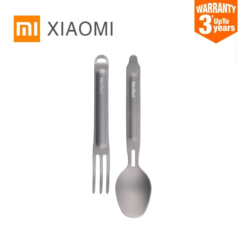 Utensilios de cocina xiaomi de titanio, utensilios para acampada, cuchara, tenedor para turismo, picnic, senderismo, picnic, platos para turismo