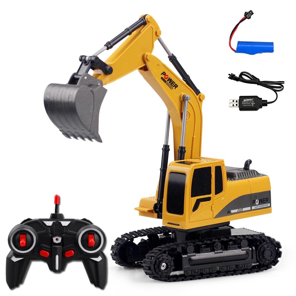 2.4ghz 6 canais 124 rc escavadeira brinquedo rc engenharia carro liga e plástico máquina escavadora rtr para crianças presente de natal