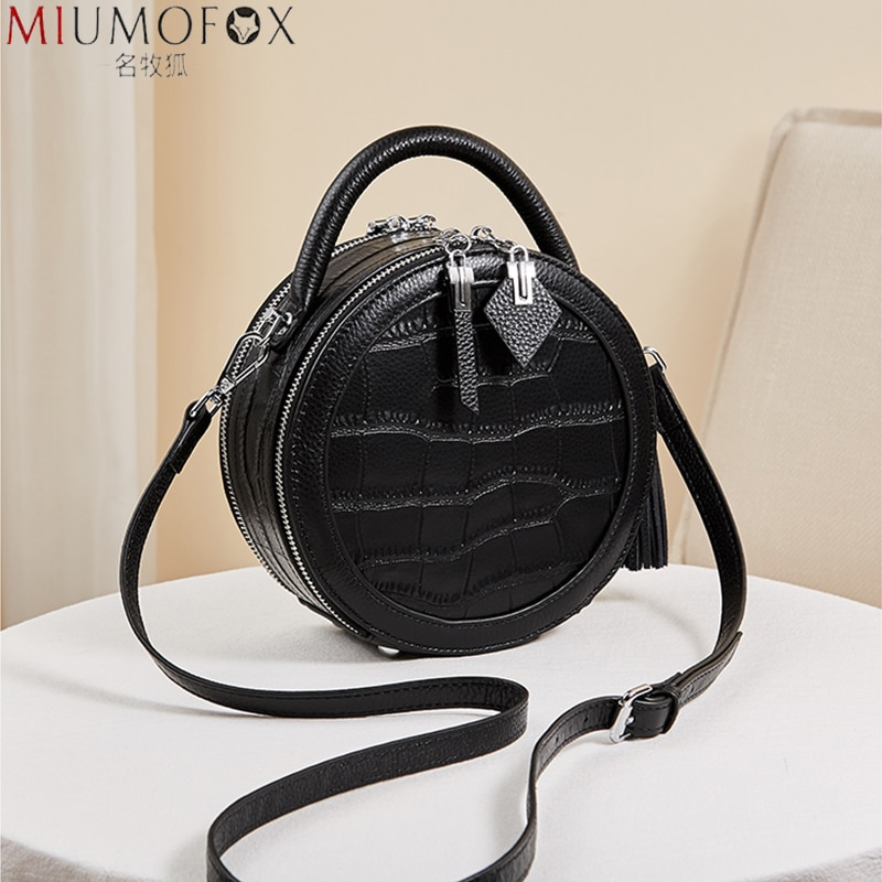 المرأة جلد طبيعي حقيبة كروسبودي مستديرة الإناث الصغيرة التمساح نمط دائري حقيبة يد سيدة 2021 حقيبة كتف هدية لفتاة