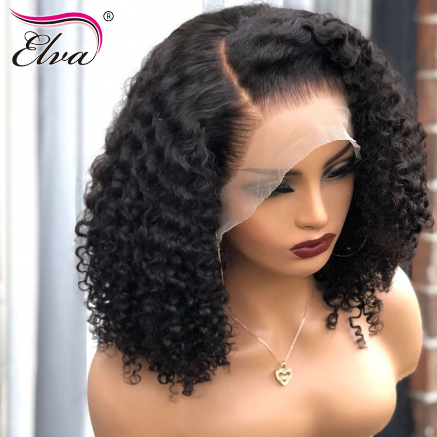 13x6 Lace Front Human Hair Wig Glueless Lace Closure Wig Elva Hair Short Lace Front Wig Curly Bob Wig Pre Plucked Hairline 8-18'