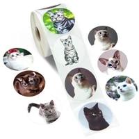 100 500pcs creative animals cat stickers 1inch labels reward sticker for school teacher kids smiley stationery sticker