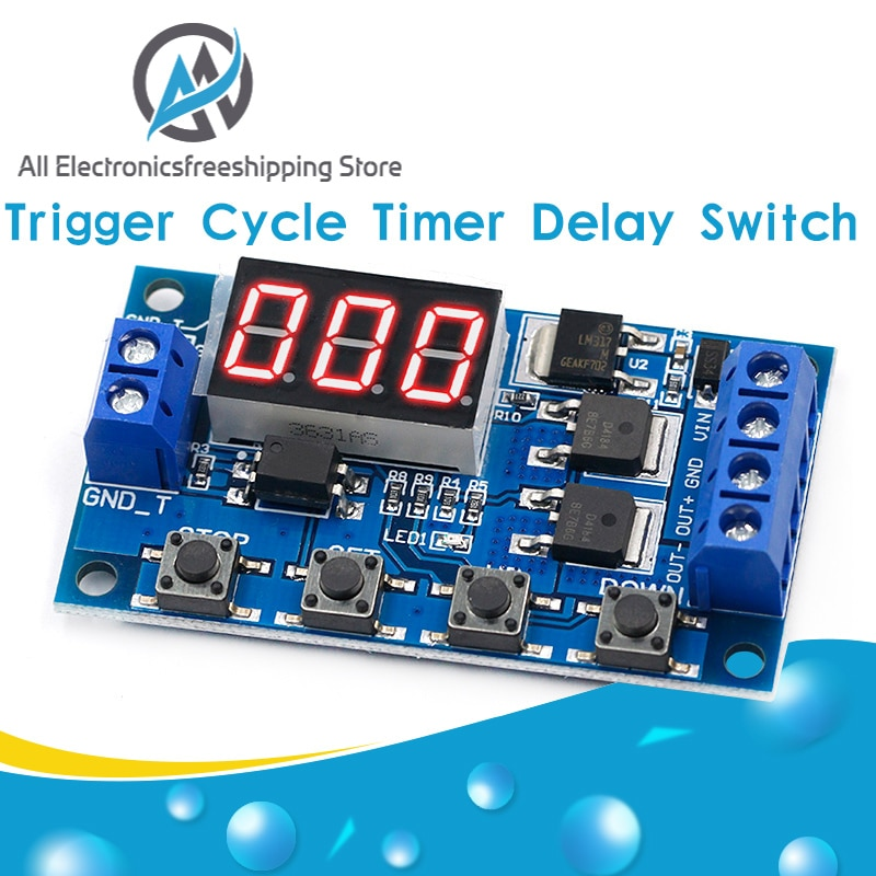 DC 12V 24V Dual MOS LED Digital Time Delay Relay Trigger Cycle Timer Delay Switch Circuit Board Timi