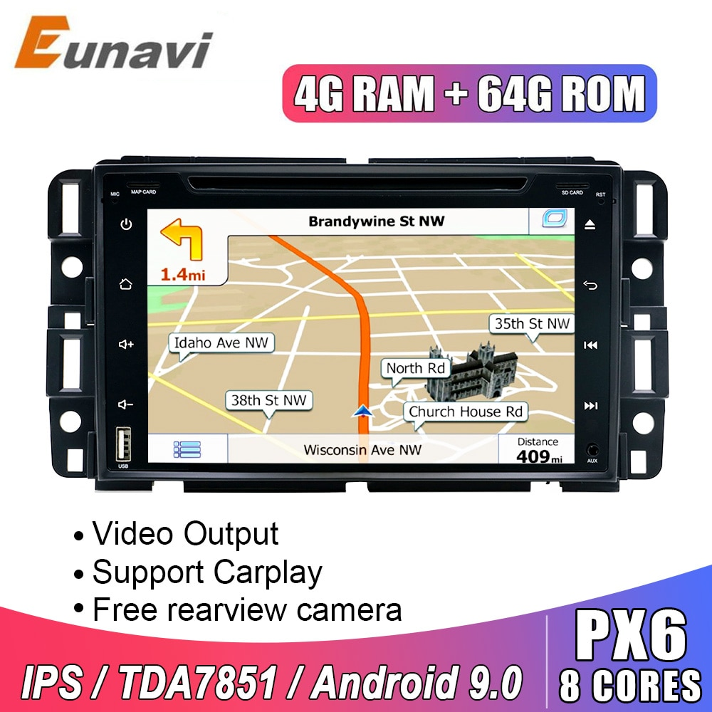 Eunavi 2 Din Android 9,0 coche DVD radio multimedia para Chevrolet/Silverado/Tahoe/Monte GMC Yukon/Denali/Acadia navegación GPS IPS