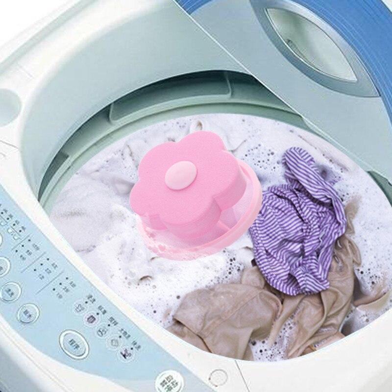 Bolsa de filtro de malla con forma de flor de bola de lavandería artefacto de lavandería estilo flotante recogedor de pelo de pelusa recogedor de suciedad lavadora