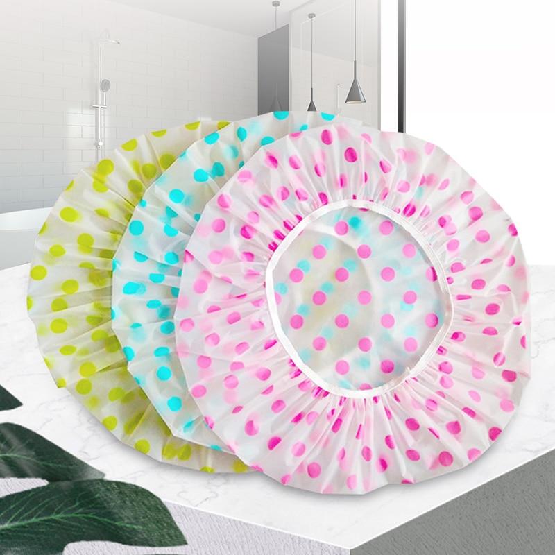 Shower cap waterproof high quality elastic 1PC female shower cap dot thickened elastic shower cap women's hair salon bathroom su