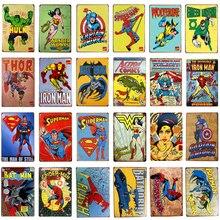 Super herói do vintage estanho sinais de metal parede placa hulk batman thor decoração da parede metal placas arte cartaz