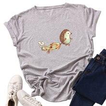 Fashion Cotton Female T-shirts Short Sleeve Plus Size Women T Shirt Hedgehog Printing Tops Harajuku Kpop Tee tshirt Femme