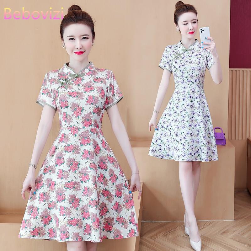 Размера плюс L-5XL летнее платье голубого и розового цвета с цветочным принтом современный тренд платье Чонсам для женщин с коротким рукавом ...
