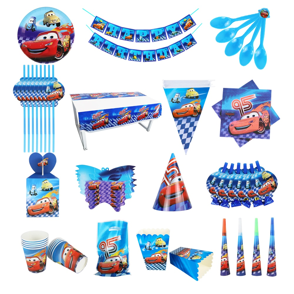 Disney Cars Birthday Party Decorations Kids Favor Lightning McQueen Paper Cups Plates Baby Shower Di