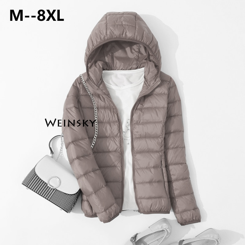 Spring Autumn Women Ultralight Thin Down Jacket White Duck Down Hooded Jackets Warm Winter Coat Park