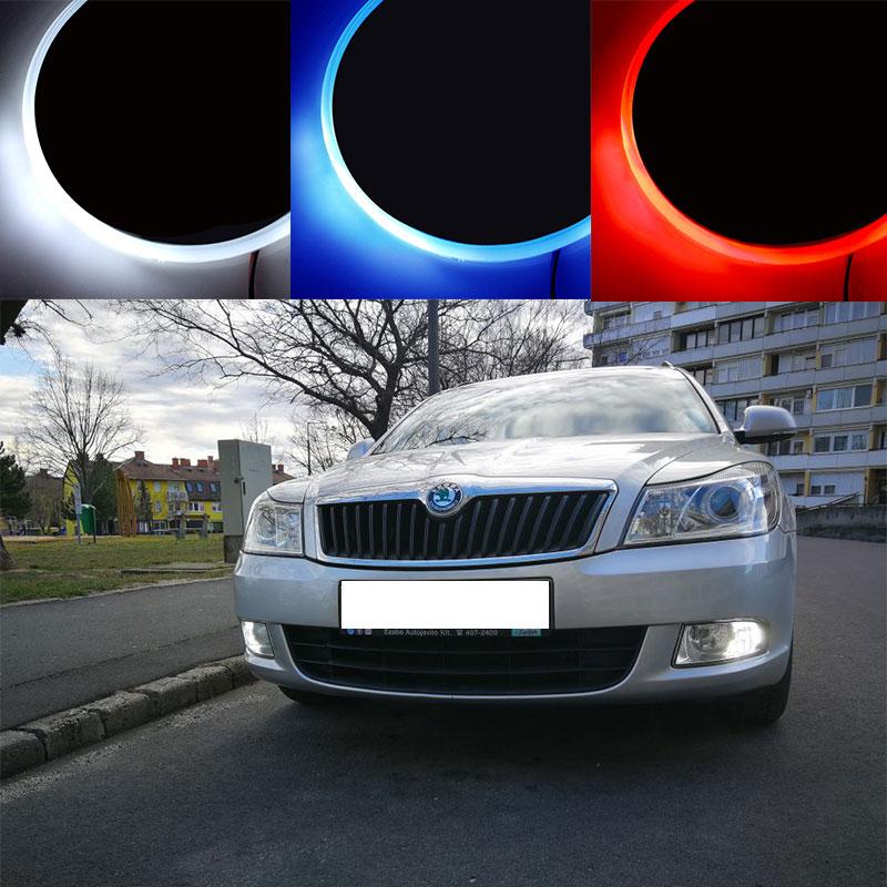 Insignia con emblema led para decoración de coche, luz con Logo para Skoda Octavia 5E A5 A7 Superb 3T 3V Fabia 6Y NJ Rapid NH3 1 2 3 MK1 MK2 MK3 Yeti 5L