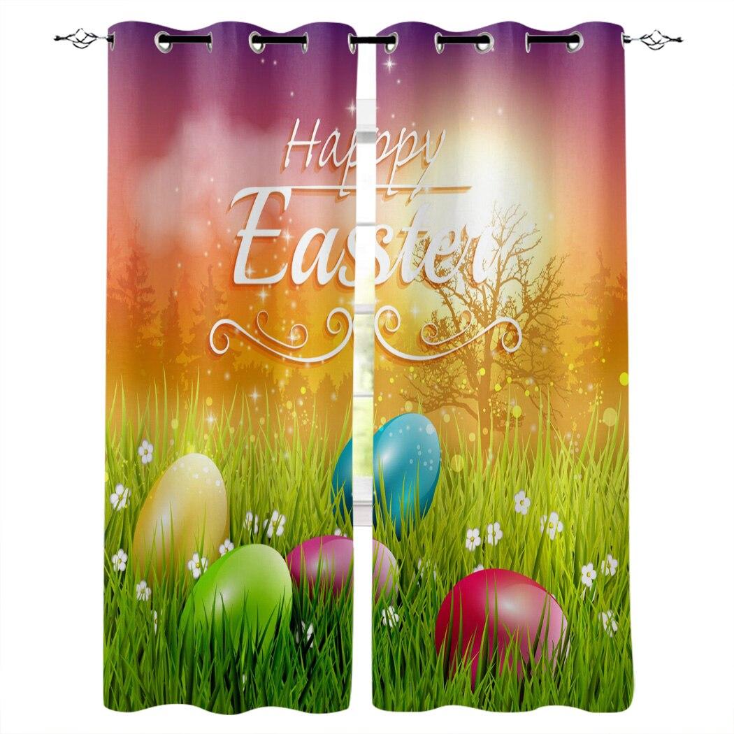 Huevo de Pascua tarjeta de felicitación hierba impreso cortinas de ventana sala de estar dormitorio cortinas de tela de poliéster decoración del hogar