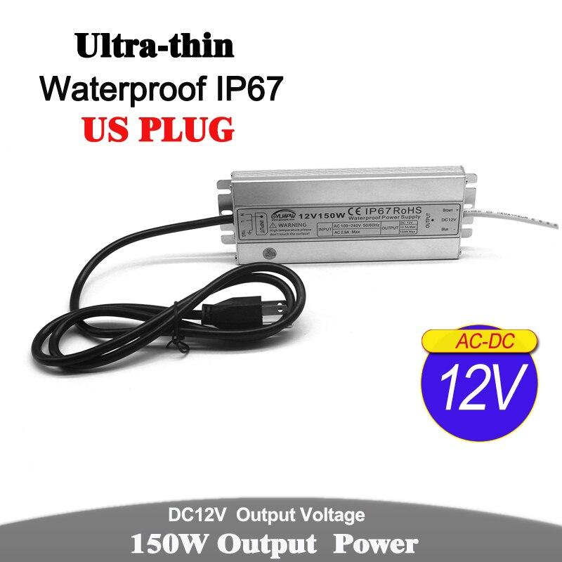 DC12V DC24V 60W 72W 100W 120W 150W transformadores de iluminación AC 24V DC 12V impermeable IP67 fuente de alimentación US enchufe para luz LED CCTV