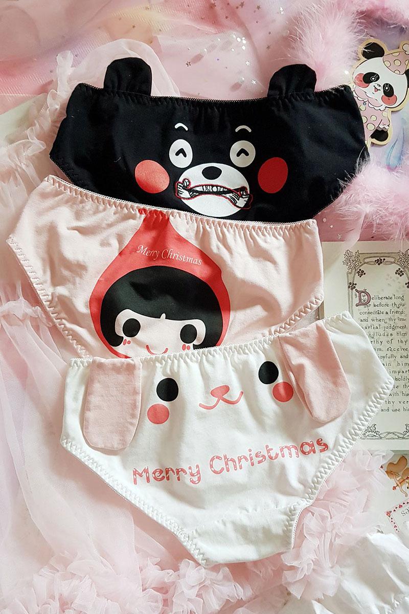 Princess sweet lolita underwear Japanese anime Cute Cotton Lori rabbit bear three dimensional ears low waist underwear LP125