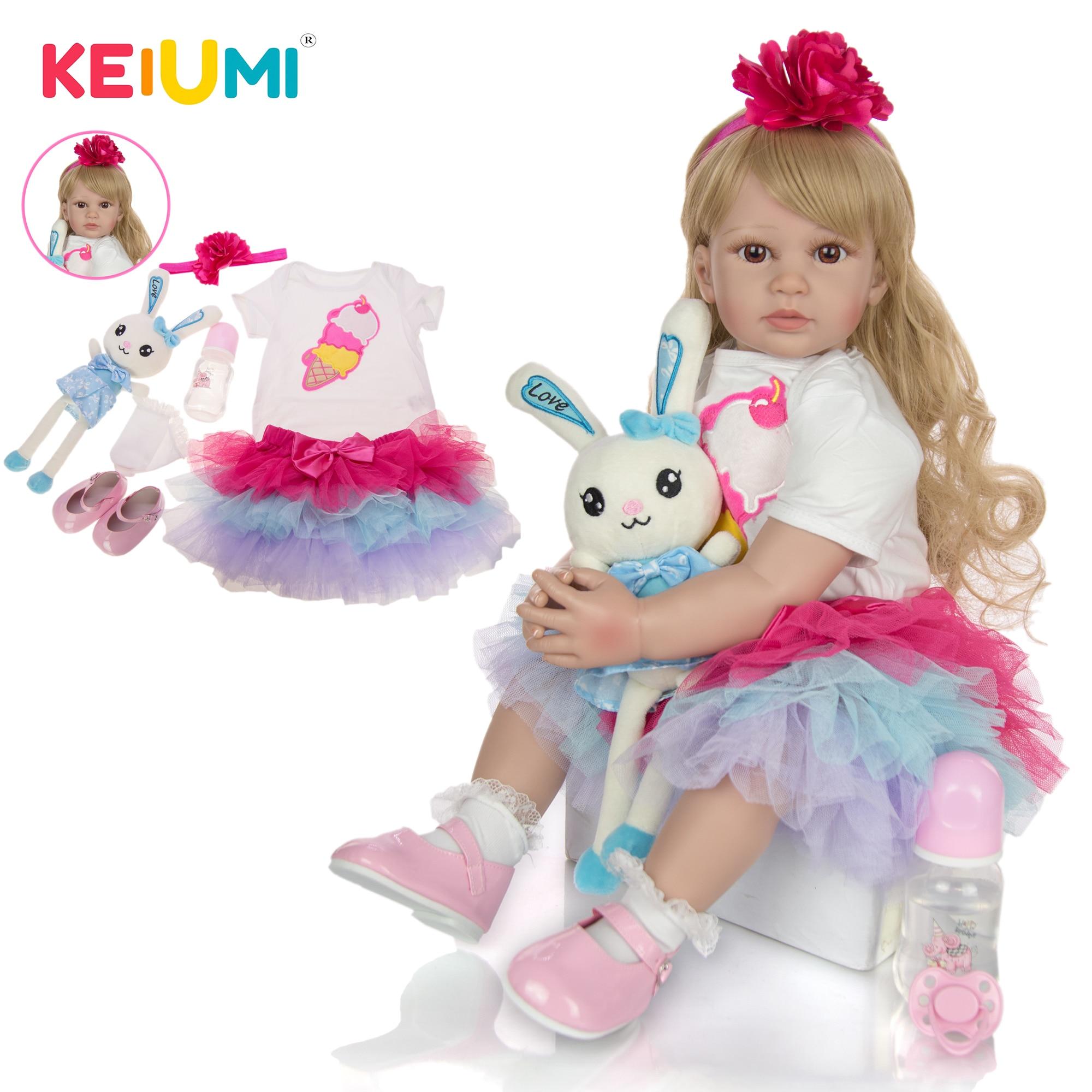 KEIUMI moda 24 pulgadas 60 cm muñecas Reborn bebé niña Real Princesa silicona con rizos largos de oro Reborns para regalo gratis almohada de juguete