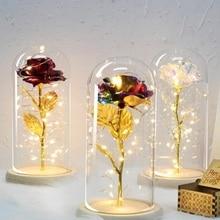 2020 or Rose fleur éternelle Rose en flacon décoration de mariage fleurs artificielles en verre couverture pour saint valentin amant cadeaux