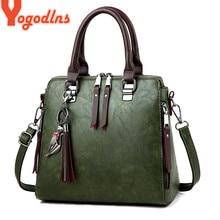 Yogodlns Vintage Leather Womens HandBags Ladies Messenger Bags Totes Tassel Designer Crossbody Shoulder Bag Boston Hand Bags
