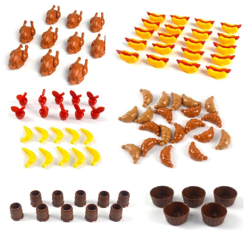 Diy blocos de construção comida peixe frutas frango cachorro quente pão brinquedo moc peças cidade acessórios tijolos compatíveis todas as marcas montar