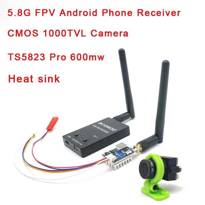 Receptor de vídeo FPV UVC 5,8G, enlace descendente OTG VR, Android Phone + 5,8G, 600mw, transmisor lanzador + cámara CMOS 1000TVL con disipador de calor