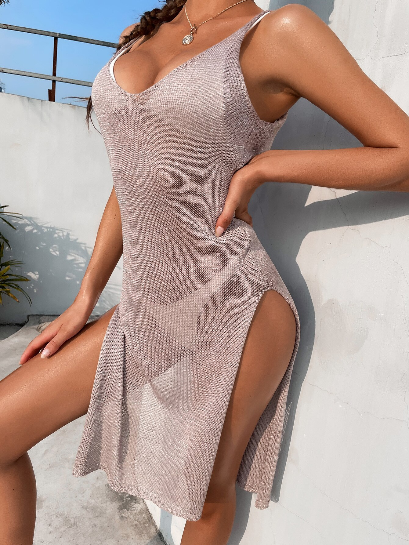 Oluolin Women 2021 Summer Mesh Sheer Long Cover-Ups Beach Dress Bikini Cover Up Swimwear Swimsuit Dress Plage Beachwear