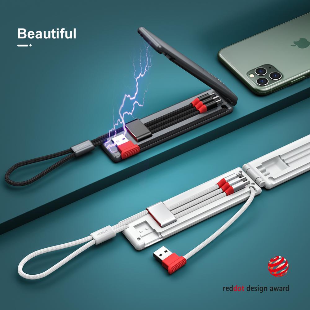 كابل قابل للطي 3 في 1 سريع الشحن كابل مايكرو USB Type-c نوع C USB شحن خط بيانات الحبل ل شاومي هواوي آيفون