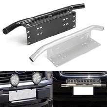 Support en Aluminium pour la conduite de la barre lumineuse   Pare-choc avant de la voiture en argent de 23 pouces, support de la plaque dimmatriculation, support de Style Bull Bar, Jeep et camion