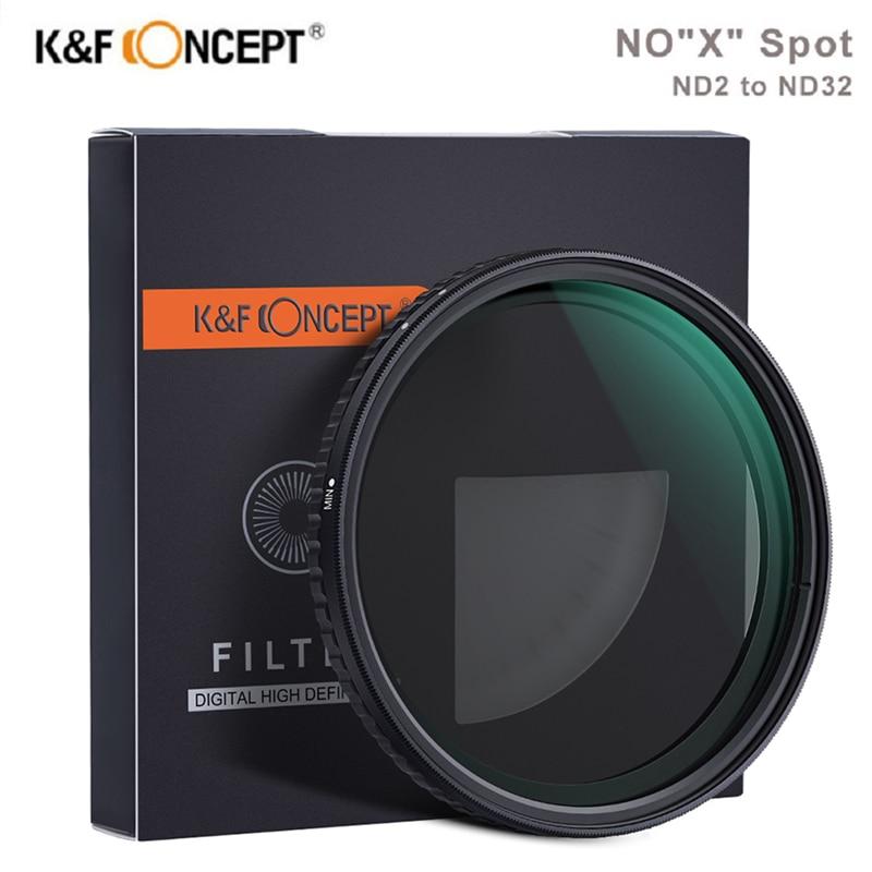 K & F مفهوم جديد ND2-32 متغير ND تصفية 58 مللي متر 62 مللي متر 67 مللي متر 72 مللي متر 77 مللي متر لا X بقعة ترويسة تصفية الكثافة المحايدة لسوني نيكون كانون