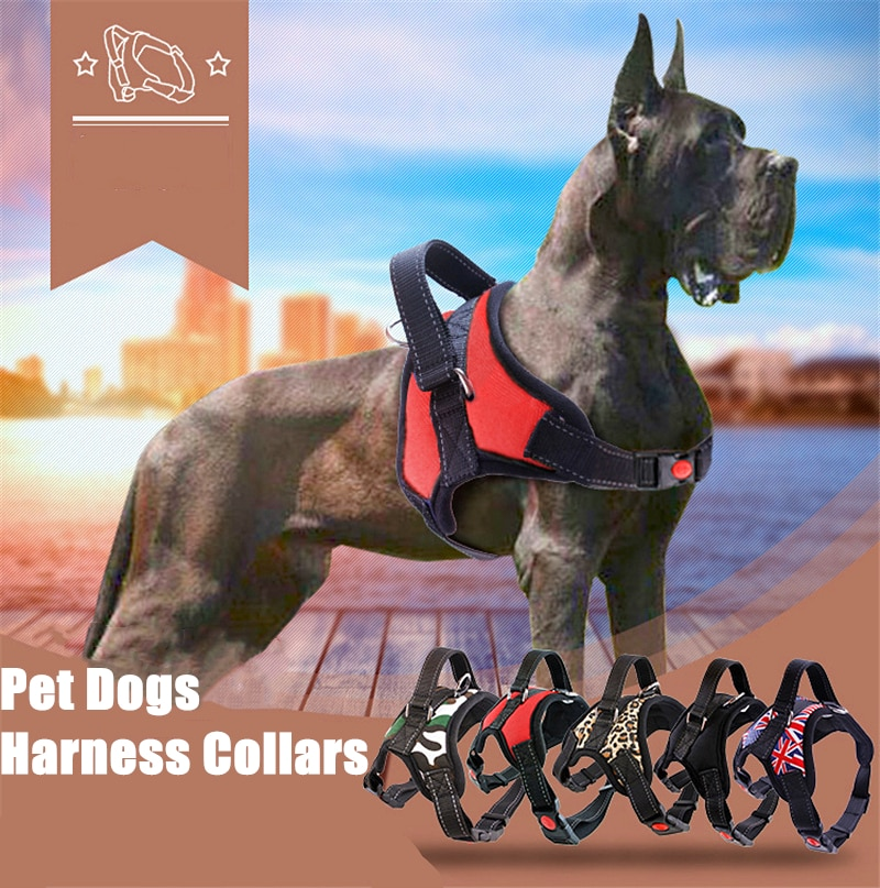 Large pet Dog Harness All Weather Service Nylon Dog Vest Padded Adjustable Safety Vehicular Lead For Dogs Pet